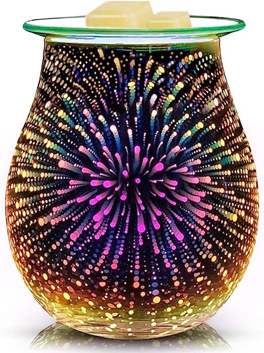 3D Glass Electric Wax Melt Warmer Candle Warmer Wax Burner Melter Fragrance Warmer for Home Office Bedroom Living Room Gifts /& Decor 3D Fireworks