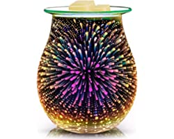 3D Glass Electric Wax Melt Warmer Candle Warmer Wax Burner Melter Fragrance Warmer for Home Office Bedroom Living Room Gifts