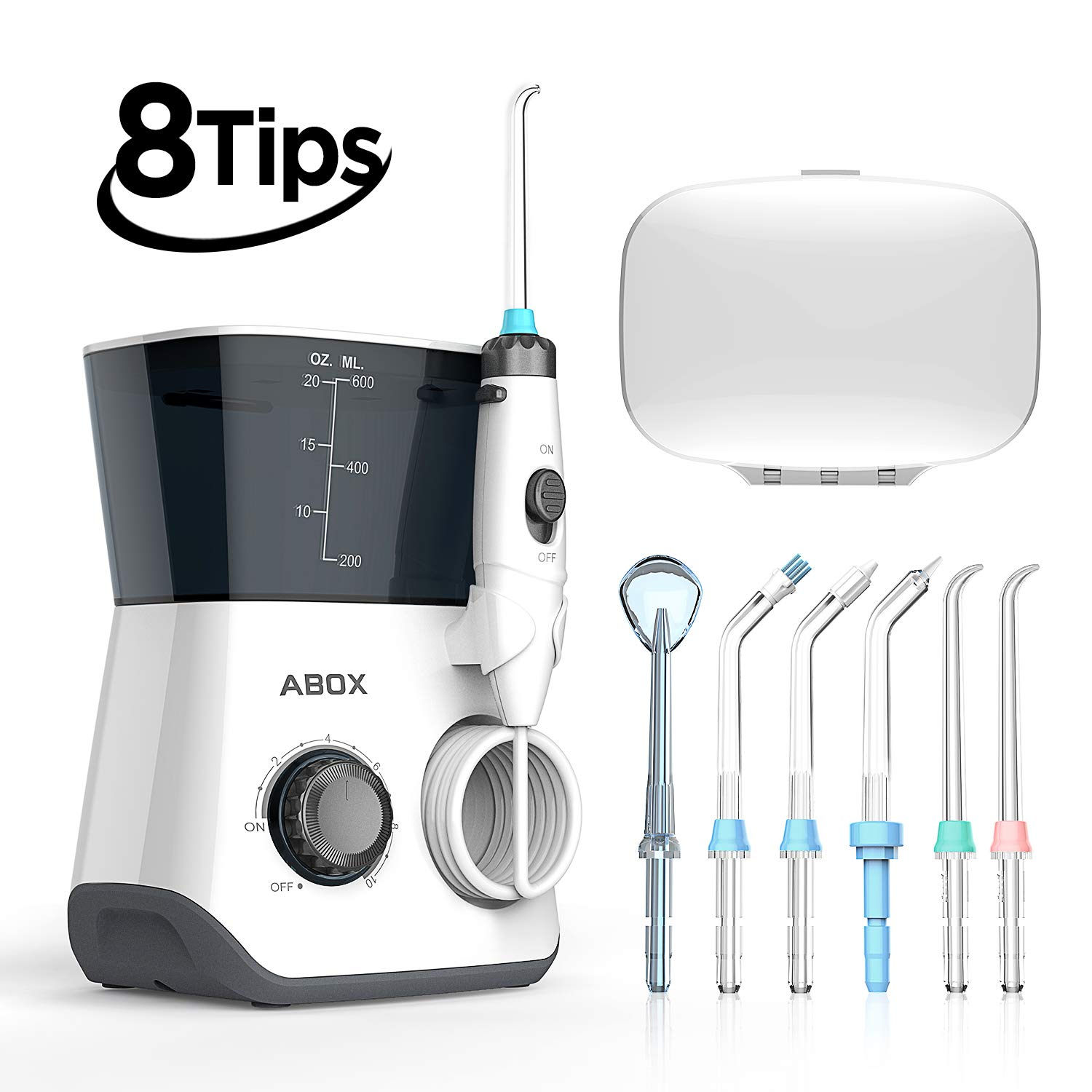 Water Flosser, ABOX Dental Oral Irrigator 600ml Capacity with 8 multifunctional Tips 10 Water Pressures Countertop Dental Flosser(FDA Approved) by ABOX