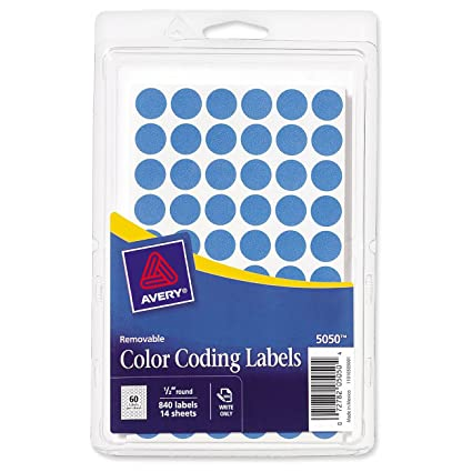 amazon com avery removable color coding labels 0 5 inch round