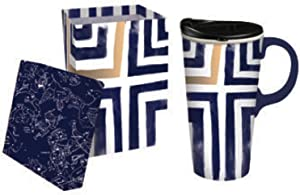 Cypress Home Blue and Gold Stripes Ceramic Travel Coffee Mug with Gift Box, 17 ounces