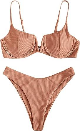 SheIn Women's 2 Piece Bikini Set High Cut Push Up Underwire Bra Bathing Suit