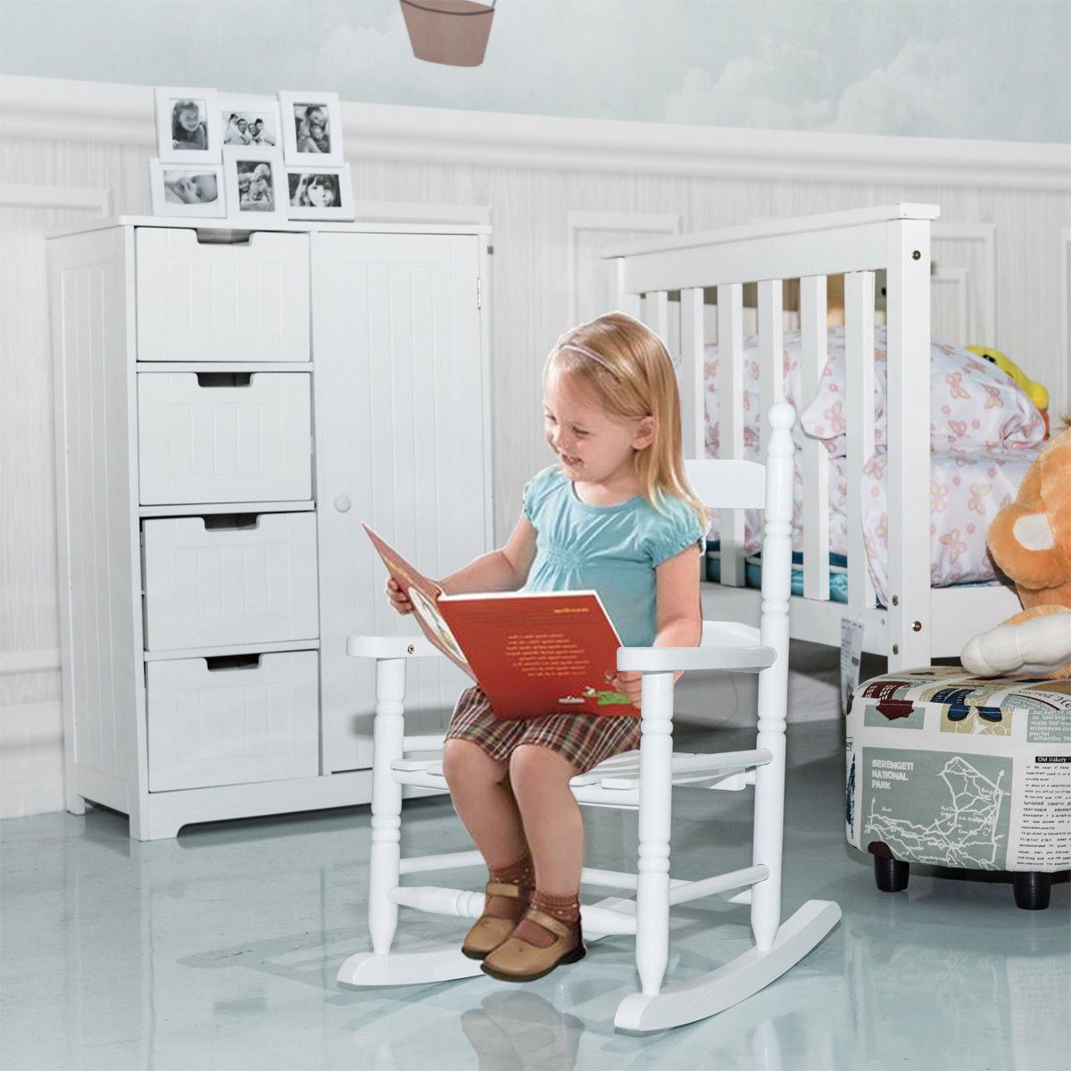 Simply Silver - Rocking Chair - Classic White Wooden Children Kids Rocking Chair Slat Back Furniture Bedroom