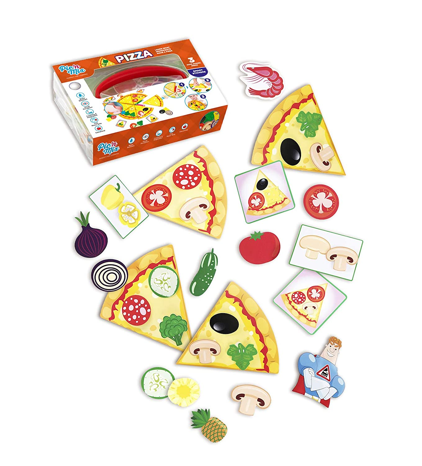 Pizza Puzzles for Kids | Picnmix Matching Game for Toddlers 2 Years and Up. Educational Board Game | Preschool Learning Toy. Fine Motor Skills Toy for Boys and Girls
