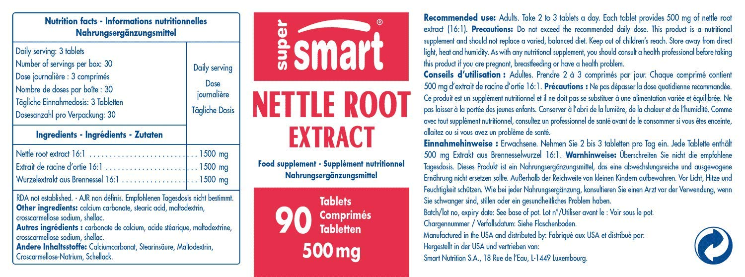 Amazon.com: Supersmart MrSmart - Prostate, Mens Health - Nettle Root Extract - Extract of Urtica dioica Root standardised 16:1. 500 mg, 90 Tablets.