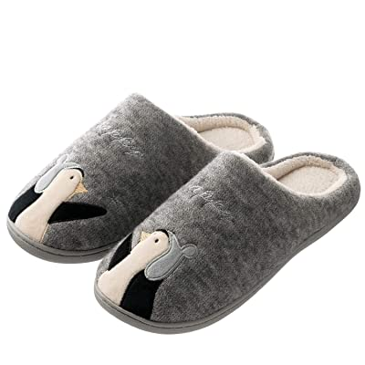 Tofern Mens and Womens Cute Cozy Slip On House Slippers Indoor Outdoor Warm Winter Slippers with Rubber Sole | Slippers