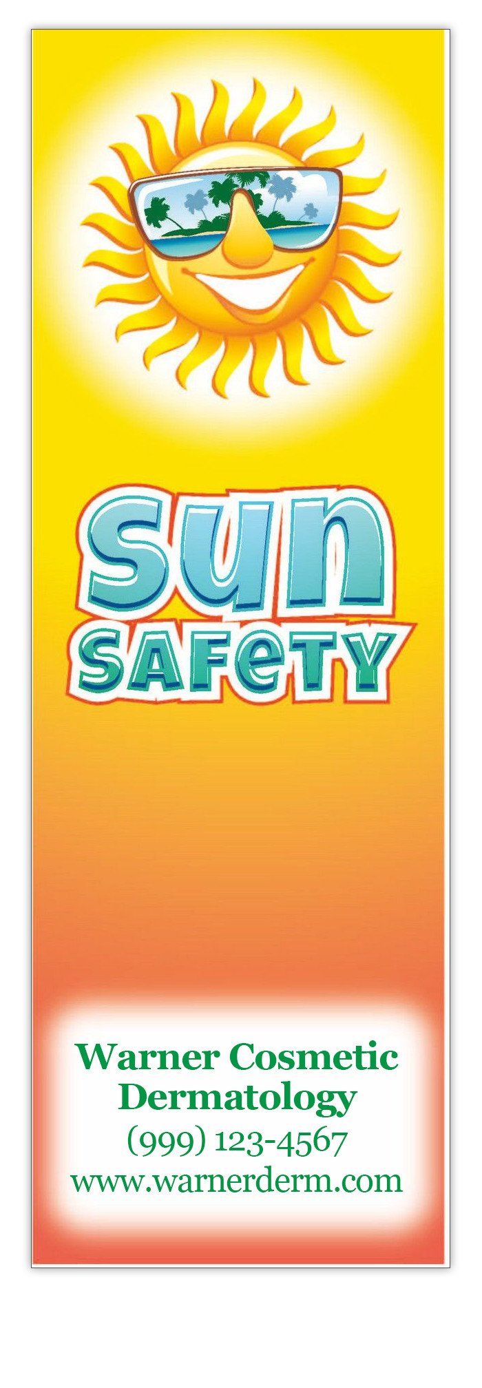 Sun Safety Bookmarks in Bulk (Qty of 250) - Promotional Item - Customize with your Information - Great for Mailings