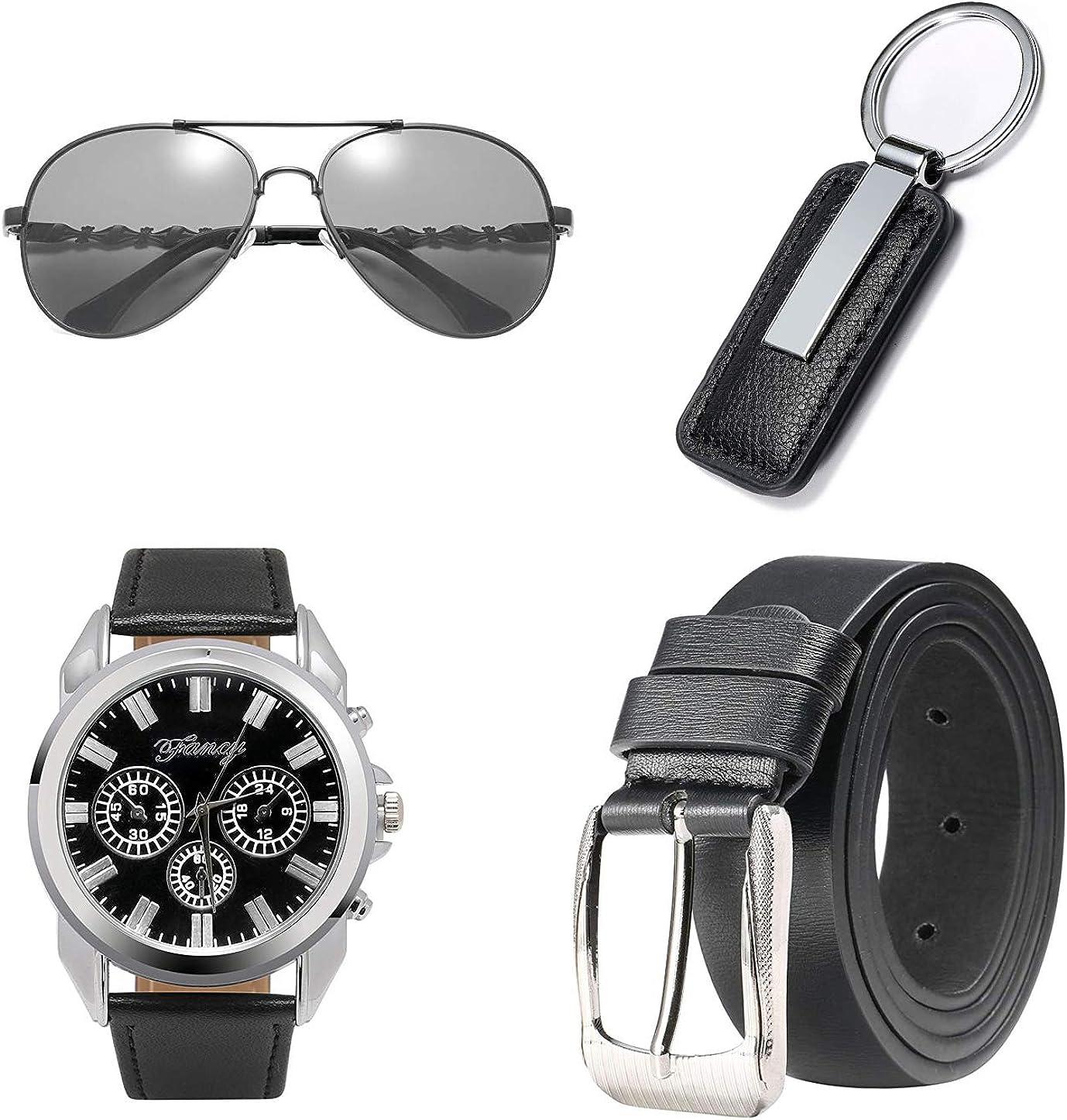 BSTcentelha - Reloj de Pulsera analógico de Cuarzo para Hombre, Piel Artificial, Llavero, Gafas de Sol, Color Azul Oscuro Regalo perfecto para el día de san valentín