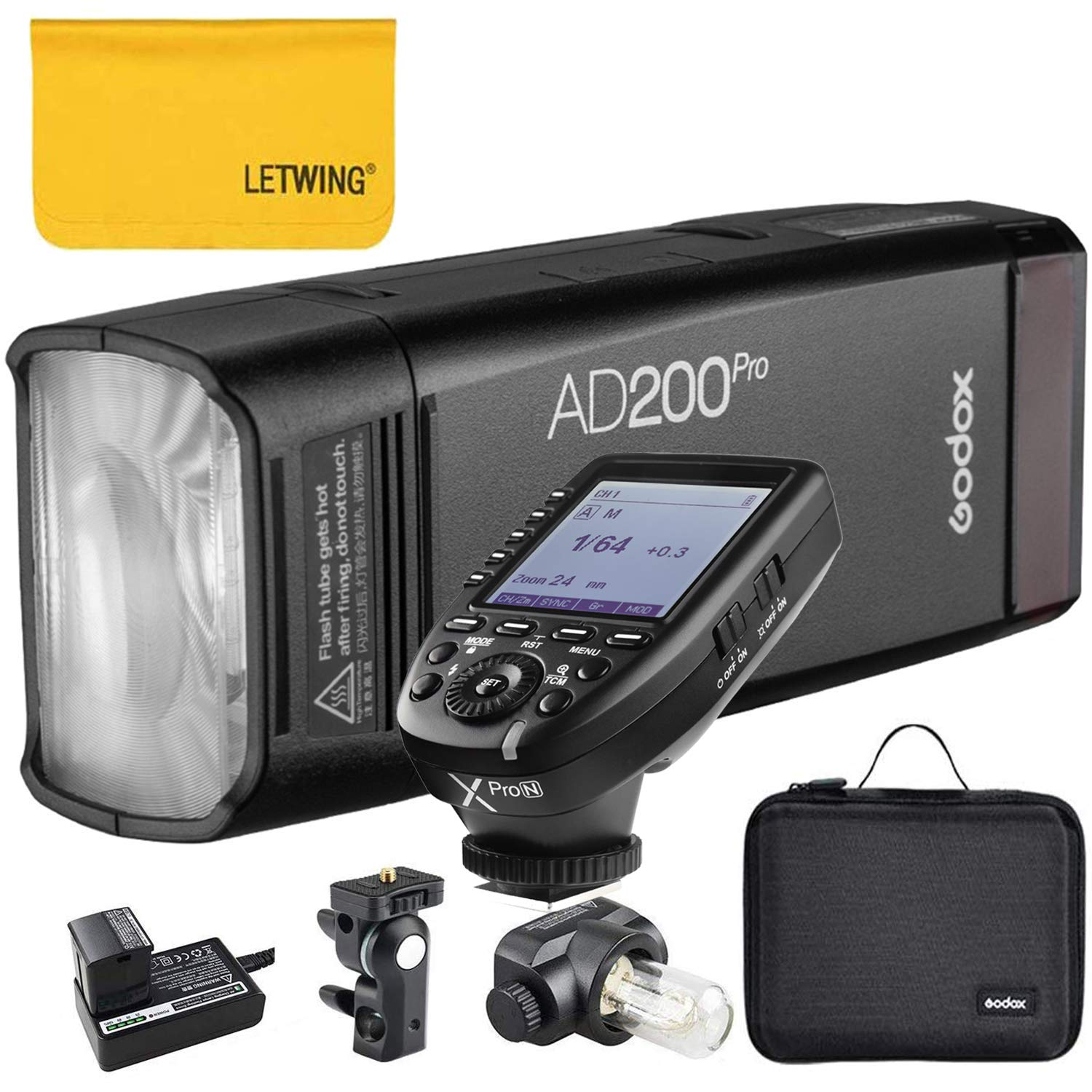 Godox AD200Pro TTL 2.4G HSS 1/8000s Pocket Flash Light Double Head 200Ws with 14.4V/2900mAh Lithium Battery and Godox XPro-N Flash Trigger Compatible for Nikon Camera by Godox