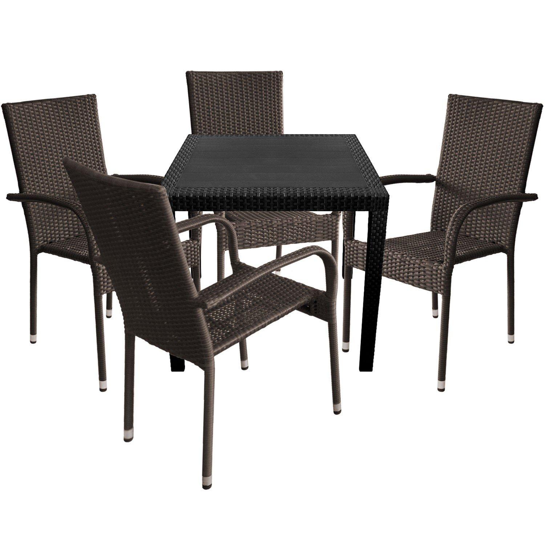 5tlg gartengarnitur gartentisch 79x79cm in rattan optik kunststoff schwarz polyrattan. Black Bedroom Furniture Sets. Home Design Ideas