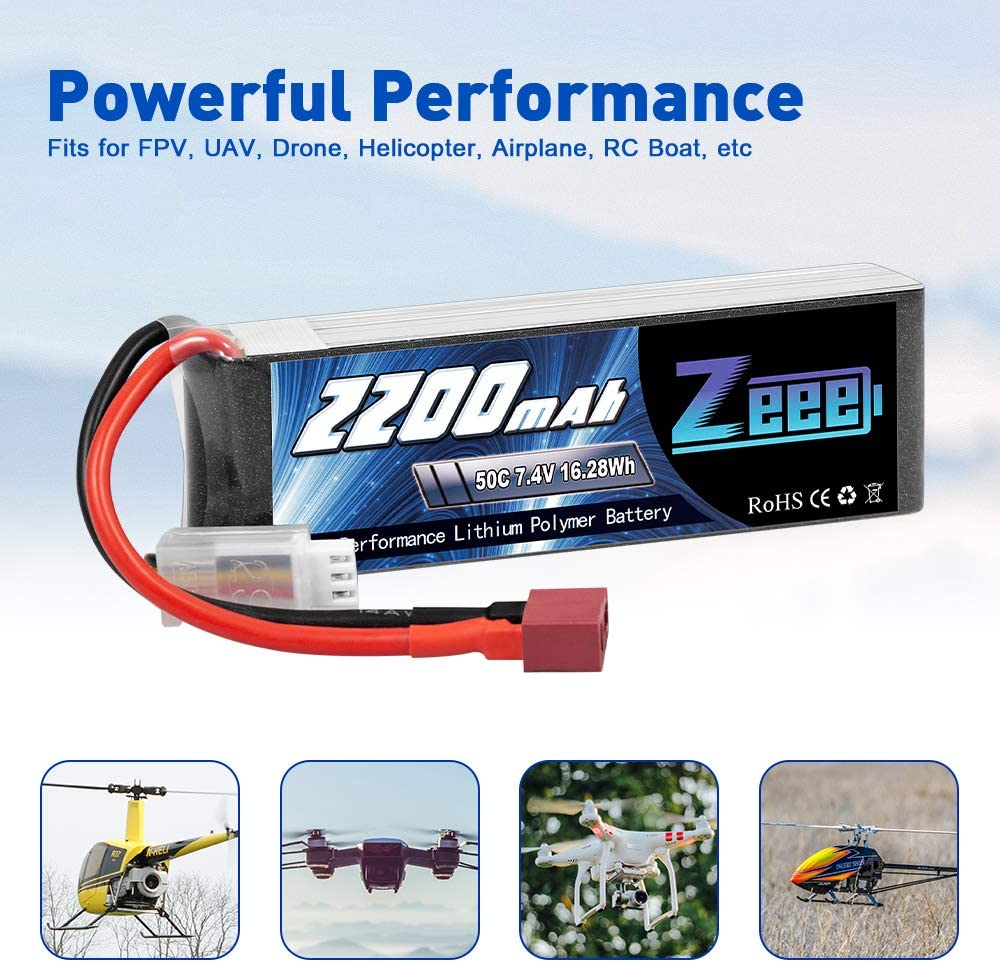 Zeee 7,4V 50C 2200mAh 2S Lipo Akku RC Batterie mit Deans T Stecker f/ür RC Auto Truck Flugzeug Heilikopter Boot RC Hobby 2 Packungen