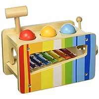 Tooky Toy - Banco multifunzione con martello e palle di legno e xilofono - Giocattolo educativo per la prima infanzia