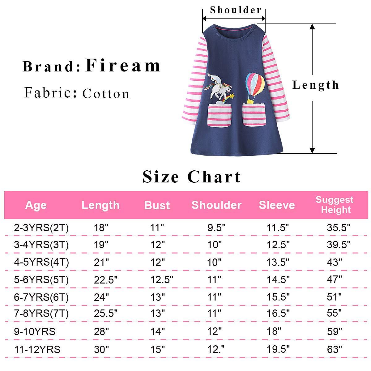 Fiream Girls Cotton Longsleeve Casual Dresses Applique Cartoon TZlyq002