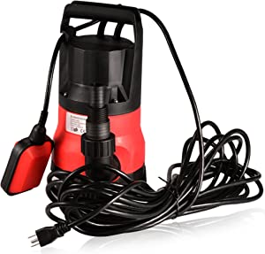 Submersible Water Pump Sump with Float Switch Portable Clean/Dirty (0.5HP Red)