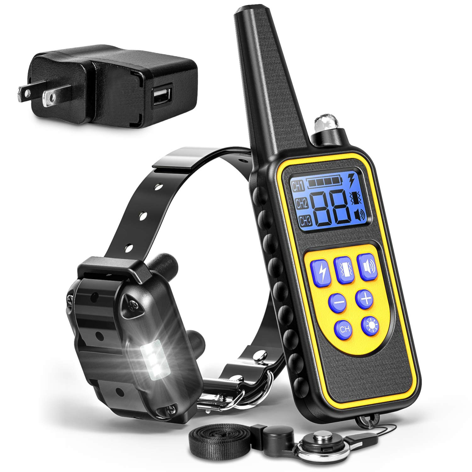 F-color Dog Training Collar, Rechargeable Waterproof Dog Shock Collar for Dogs with Remote 2600ft,with Beep Vibrating Shock LED Light 4 Modes for Small Medium Large Dogs, Black by F-color