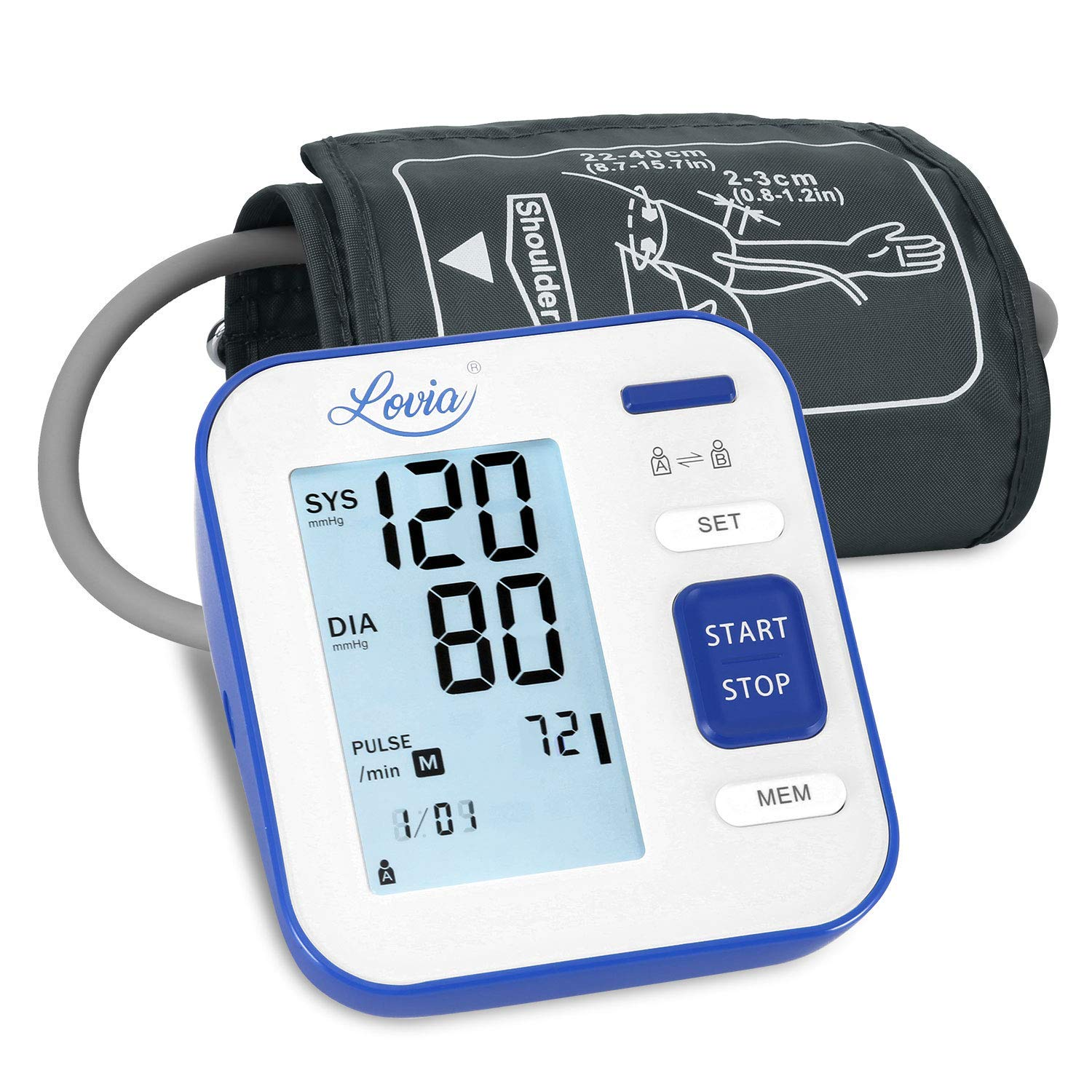 Blood Pressure Monitor Upper Arm, LOVIA Accurate Automatic Digital BP Machine for Home Use & Pulse Rate Monitoring Meter with Cuff 22-40cm, 2×120 Sets Memory, LCD Backlight by Lovia