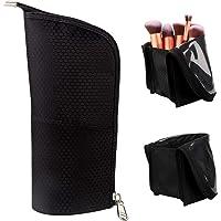 Samtour Makeup Brush Organizer, Makeup Bag Artist Brushes Set Case Professional Travel Brush Cosmetic Bag Pen Pencil Holder (Black Large)