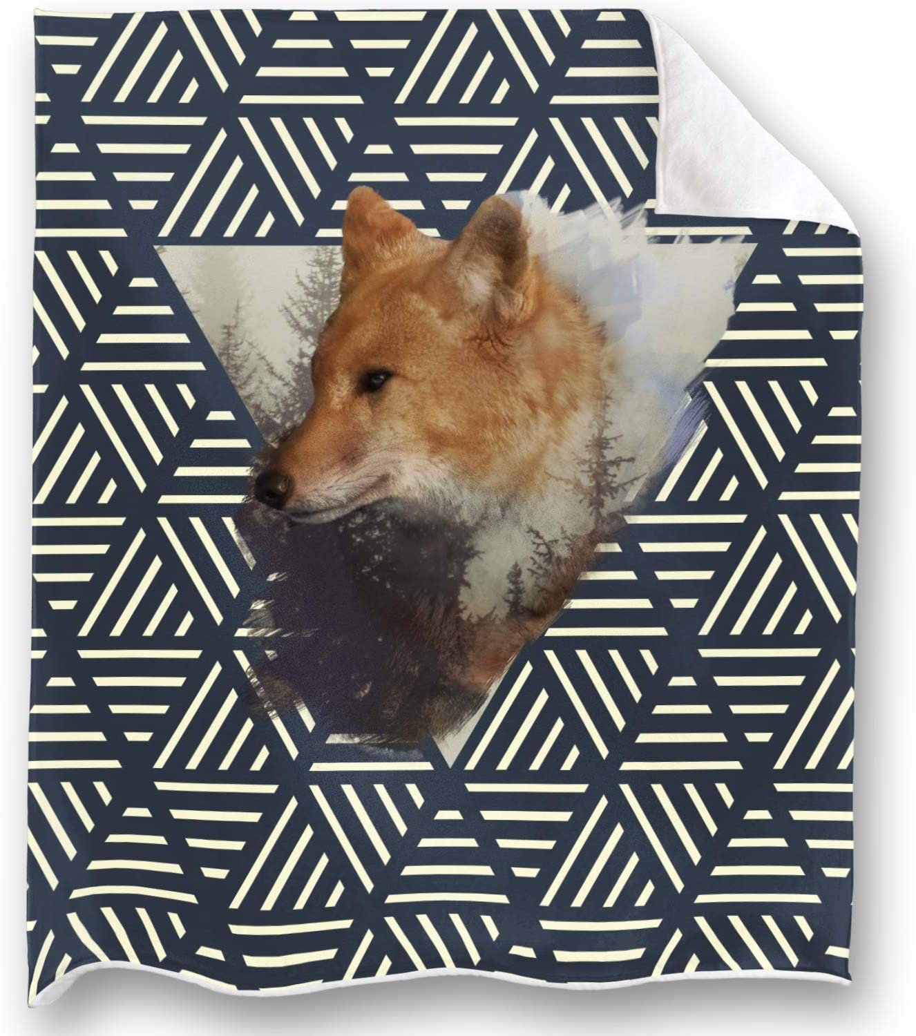 LOONG DESIGN Creative Pattern Fox Throw Blanket Super Soft, Fluffy, Premium Sherpa Fleece Blanket 50'' x 60'' Fit for Sofa Chair Bed Office Travelling Camping Gift