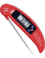 AMIR Digital Meat Thermometer, Instant Read Cooking Thermometer, Electronic Meat Thermometer with Probe for Kitchen, BBQ, Poultry, Grill Food & Candy- Fordable, Fast & Auto On/Off (Red)