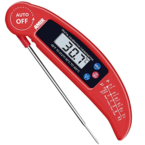 AMIR Food Thermometer, Digital Instant Read Candy/Meat Thermometer with Probe for Kitchen Cooking, BBQ, Poultry, Grill, Foldable, Fast & Auto On/Off, Battery Not Included [Energy Class A++]