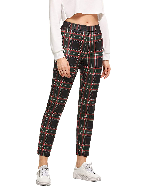 Red WDIRARA Women's Stretchy Plaid Print Pants Soft Skinny Regular Fashion Leggings