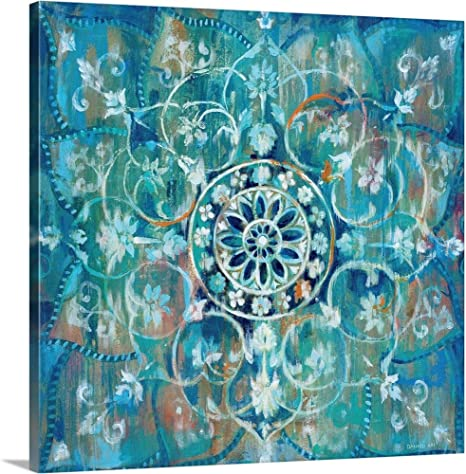 Amazon Com Mandala In Blue I Canvas Wall Art Print 24 X24 X1 25 Posters Prints