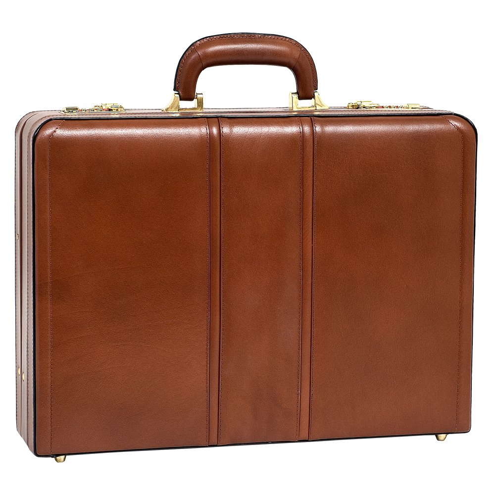 Expandable Attache Case, Leather, Small, Brown - COUGHLIN | McKlein
