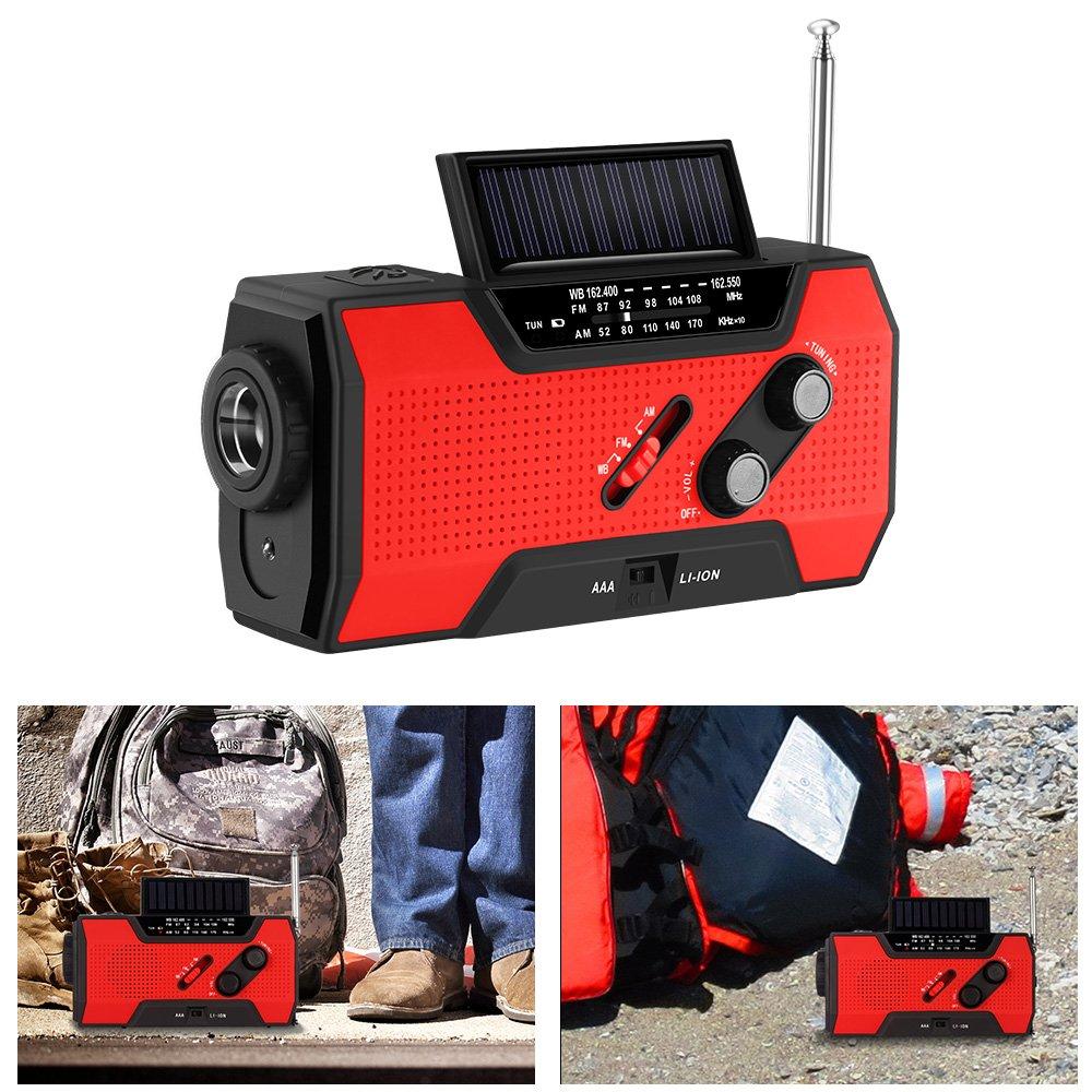 OurLeeme Not Hand Kurbel Radio-, selbst solarbetrieben FM Wetter Radio mit LED Taschenlampe IPX3 Wasserdicht 4 Laden Multi-Funktion, um mit SOS Alarm