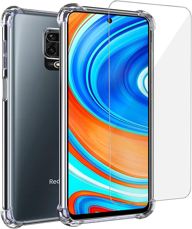 Annhao Funda Xiaomi redmi Note 9s/ 9 Pro/ 9 MAX + Cristal Templado, Funda Transparente TPU Ultrafina Cuatro Esquinas Anti-Caídas Suave Silicona Anti arañazos, Case para Xiaomi redmi Note 9s