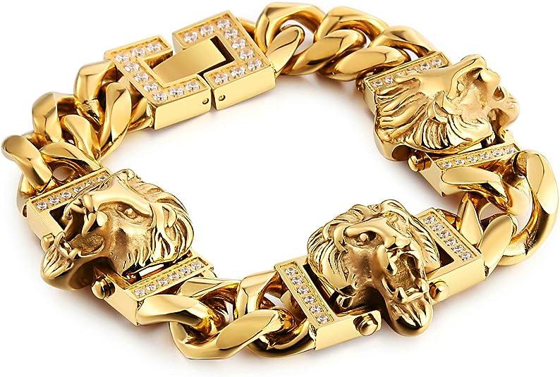 Aooaz Bijoux Bracelet Acier Inoxydable tête de Lion Or Bracelets jonc Bracelets Hommes 20x2.4CM Cadeau pour Petit ami