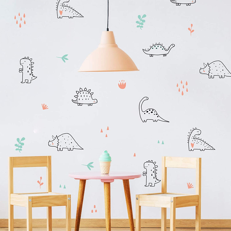 LASZOLA Cute Cartoon Dinosaur Animals Wall Stickers, Watercolour Peel and Stick Wall Decals Removable DIY Art Mural Wallpaper for Kids Nursery Bedroom (Dinosaur World)