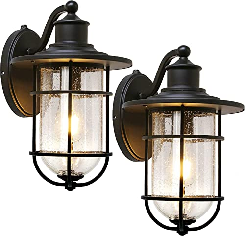 Outdoor Wall Light Fixture with Dusk to Dawn Photocell, Matte Black Wall Sconce with Seeded Glass Shade for Entryway, Porch, Front Door, 2 Pack, ETL Listed
