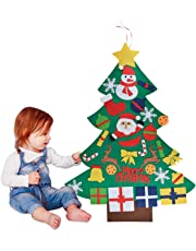 Outgeek Felt Christmas Tree, 3.28ft DIY Christmas Tree with 30Pcs Ornaments for Kids Xmas Gifts Home Door Wall Decoration