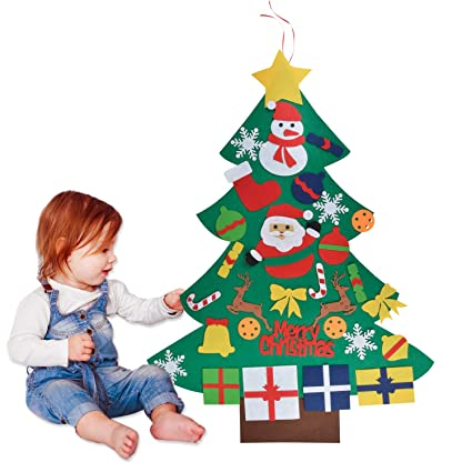 Outgeek Feutre Arbre De Noel 3 28ft Sapin De Noel Decoration Vitrine Diy Feutre Avec 30 Ornements Detachables Cadeaux De Noel Pour Noel Pour Les