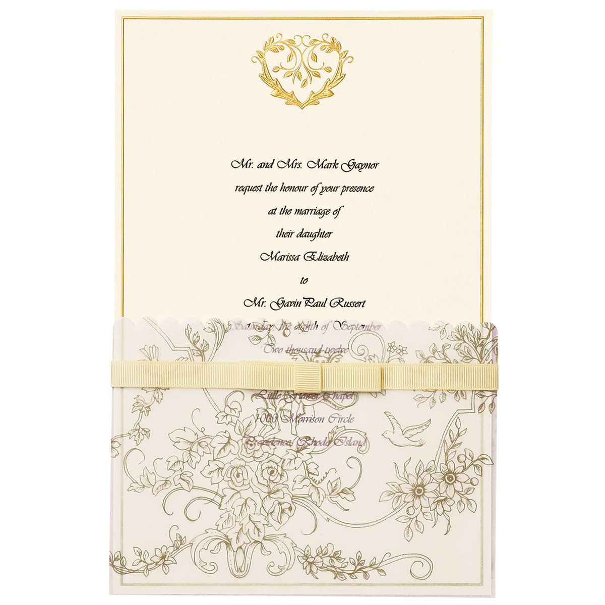 Amazon.com: Wilton 25-Pack Wedding Toile Invitation, Gold: Home ...