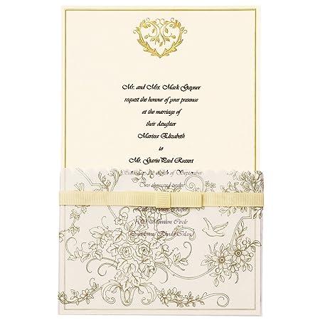 Amazon Com Wilton 25 Pack Wedding Toile Invitation Gold Home Kitchen