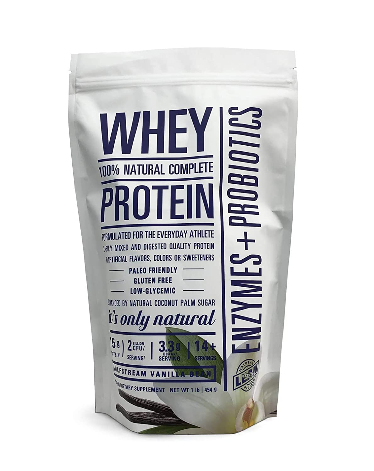 Lean Sense Whey Protein Powder w Probiotics Enzymes. Low Carb. Vanilla Bean