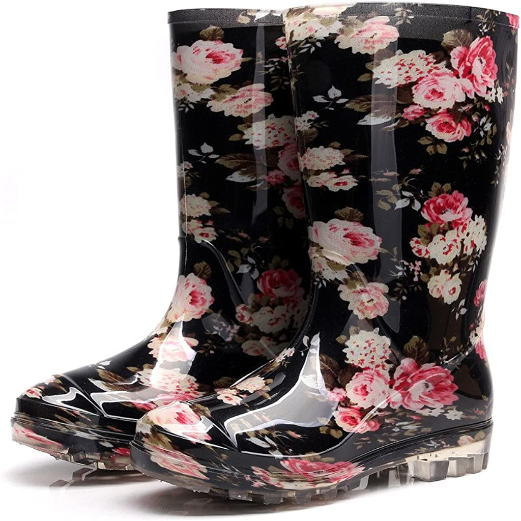 Womens Rain and Garden Boot Wellies Half Calf Rubber Rainboots Floral Printed Waterproof for Garden Women rain Footwear