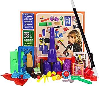 Juego de kits para principiantes de Magic para niños - 17 piezas. Accesorios de la magia. Misteriosa caja de trucos para Boy Girl Children, incluye taza mágica y pelota, trucos de cartas