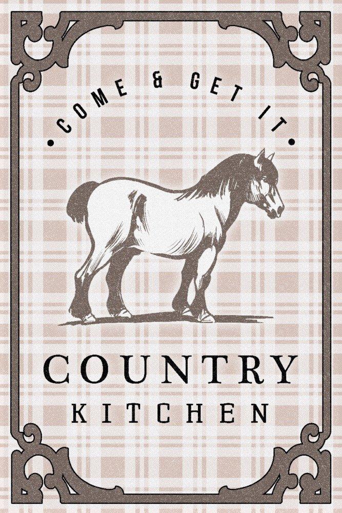 カントリーキッチン – Horse on Plaid 16 x 24 Signed Art Print LANT-83897-709 16 x 24 Signed Art Print  B07B2D5TNQ