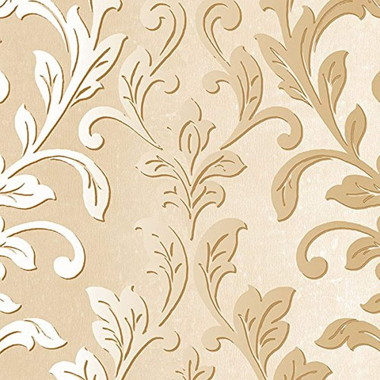 Norwall Nwtx34842 Rockford Vinyl Damask Textured Wallpaper Gold