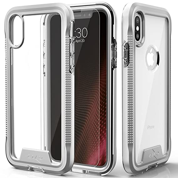 38bd14c28ff4 Amazon.com: Zizo ION Series Compatible with iPhone Xs Max case Military  Grade Drop Tested with Tempered Glass Screen Protector (Silver & Clear):  Cell Phones ...