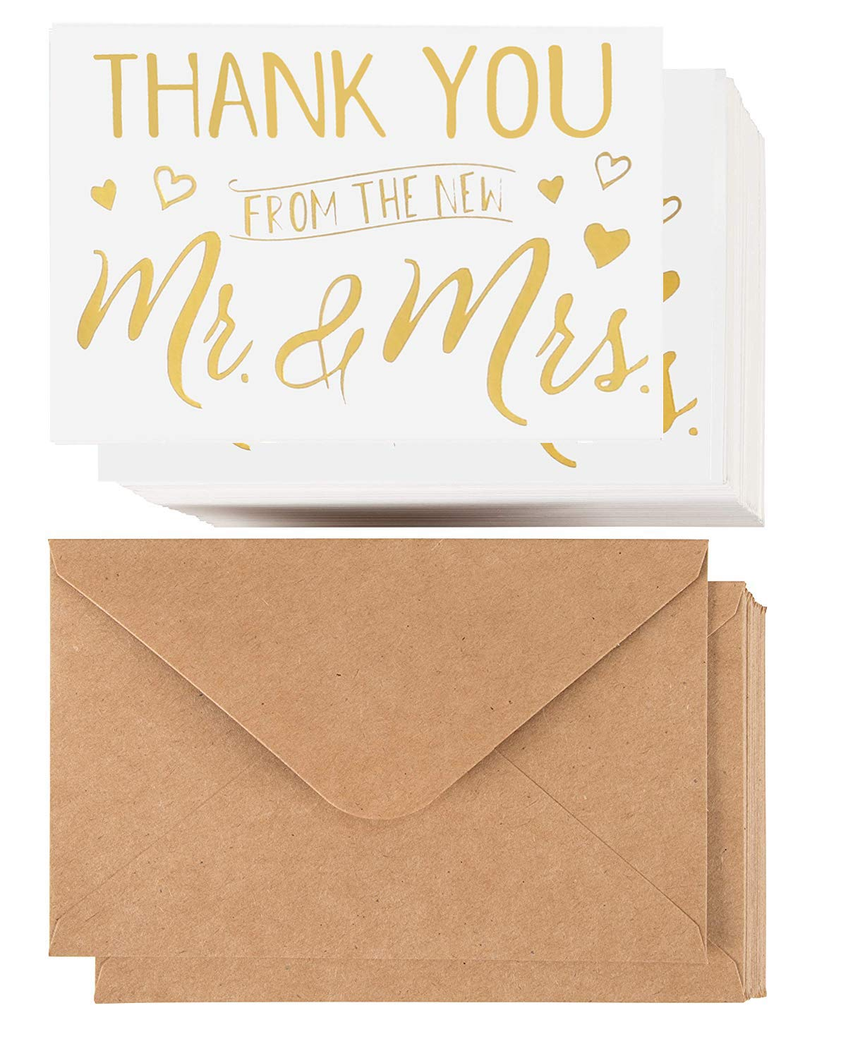 Wedding Thank You Cards - 100 Pack Blank Gold Foil Thank You from the New Mr & Mrs by AFRUCTUS