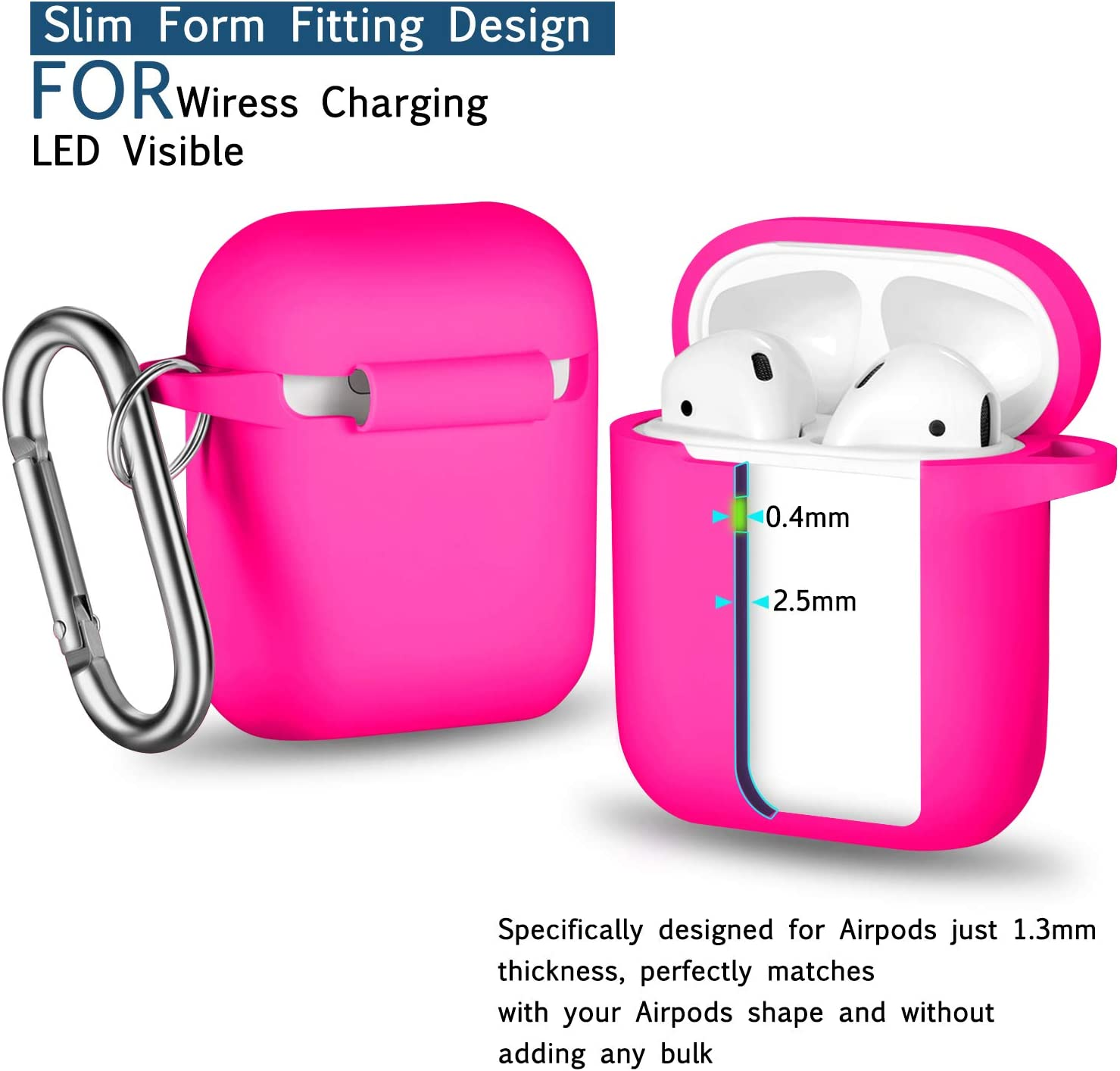 AirPods Case Cover with Keychain Full Protective Silicone AirPods ...