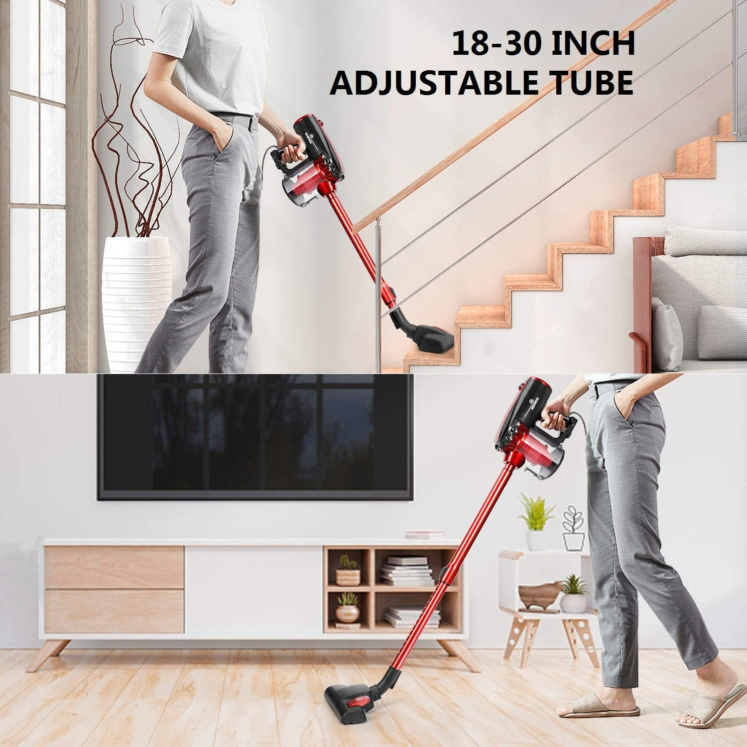 MOOSOO Vacuum Cleaner, 17KPa Strong Suction 4 in 1 Corded Stick Vacuum for Hard Floor with HEPA Filters, D600 -