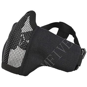 QMFIVE Tactical plegable ajustable y correa de cinturón elástico de malla protectora mascara mascara de media