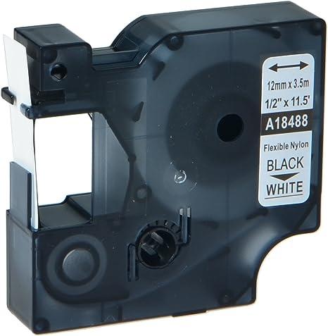 US STOCK 1PK Black on White Industrial Vinyl Label 18445 for Dymo Rhino 19mm