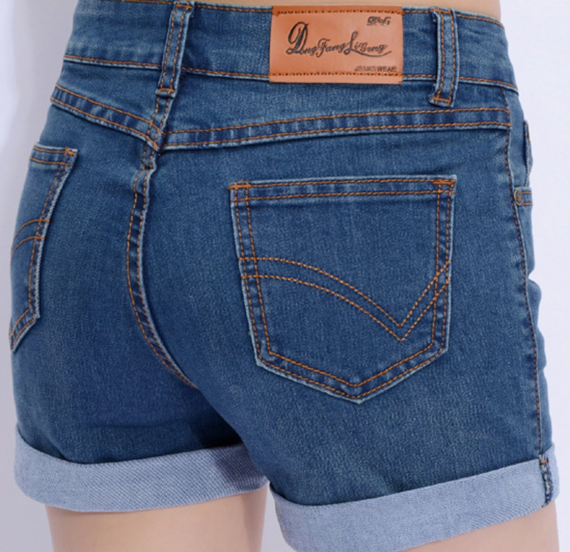 Chouyatou Women's Basic Stretched Mid-Rise Turn-up Cratched Denim Shorts (Large, Blue) by Chouyatou (Image #4)