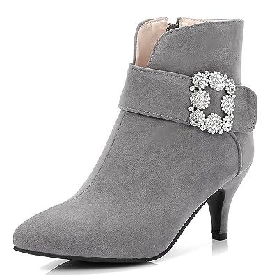 Easemax Damen Elegant Pointed Toe Strass Riemen Ankle Boots Pumps Weinrot 41 EU kIG6Ca