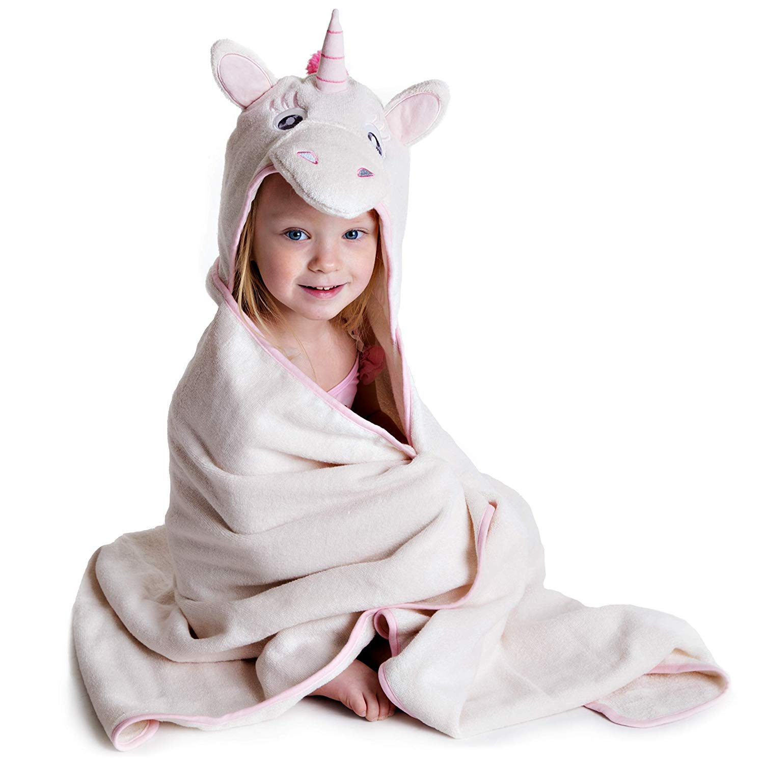 Little Tinkers World Premium Hooded Towel for Kids | Unicorn Design | Ultra Soft and Extra Large | 100% Cotton Bath Towel with Hood for Girls by Little Tinkers World
